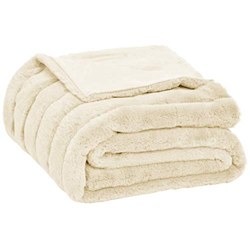AmazonBasics Faux Fur Striped Throw Blanket - 50 x 60 Inch, Ivory (Throw Fur Faux Small)
