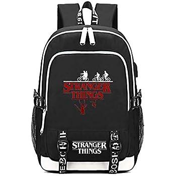 Aleven Stranger Things Backpack, Laptop Headphone Power Bank Backpack With USB Charging Porttravel Sport For Adult Men Women Boy Girl Black …