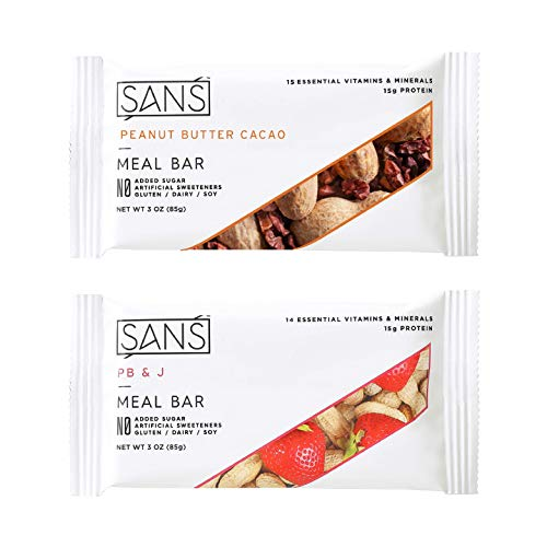 SANS Meal Replacement Protein Bar | All-Natural Nutrition Bar With No Added Sugar | Dairy-Free, Soy-Free, and Gluten-Free | Essential Vitamins and Minerals (Peanut Butter Lovers, 12 Pack)