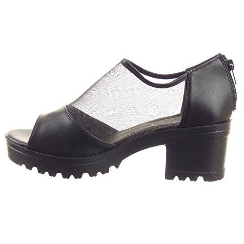 Sopily - Chaussures Mode Sandales Bottines - Bottines Basses Femme Résille Bloc Haut Talon 5 Cm - Noir