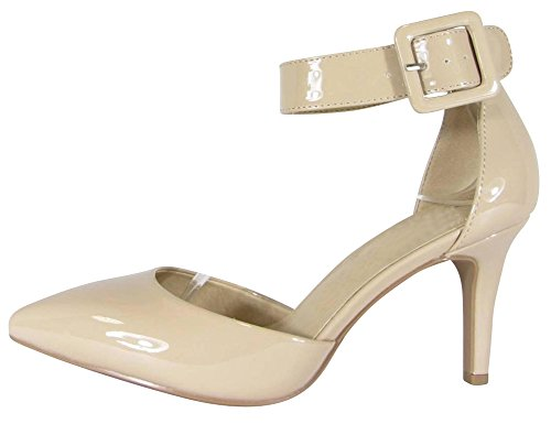 Cambridge Select Women's Closed Pointed Toe Buckled Ankle Strap Padded Comfort Mid Heel Pump,8 B(M) US,Dark Beige Patent (Buckled Patent Pumps)