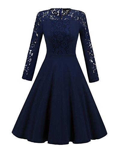 RONG Un De blue XIU Y Encaje Vestido Vestido dark Mujer d5xRtRHw