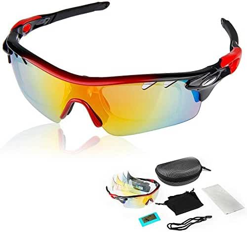 BVIOS Polarized Cycling Sun Glasses Outdoor Sports Bicycle Sunglasses Ski Goggles Eyewear Cool with Exchangeable 5 (1-set, Red-Black)