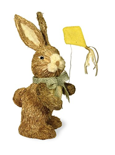 Decorative Tabletop Straw Bowtie Bunny with Kite (Straw Bunny)
