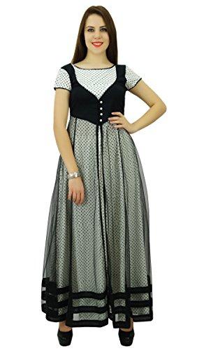 Phagun Mujeres Modelo étnico algodón de la tapa del lunar del diseñador Anarkali vestido Kurti Negro y gris