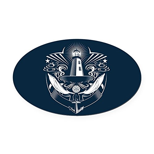 Oval Car Magnet Lighthouse Crest Anchor Dolphins ()