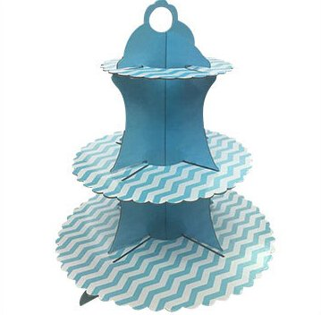 A&S Creavention 3 Levels Cardboard Cupcake Stand Holder Tower Display, 2pcs (Blue)]()