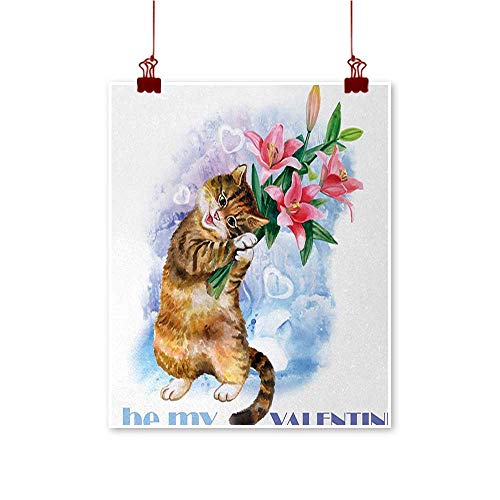 Jbgzzm Valentines Day Chinese Classical Oil Painting Be My Love Theme with a Little Cute Baby Kitten and Garden Flowers Print for Living Room Bedroom Hallway Office 20
