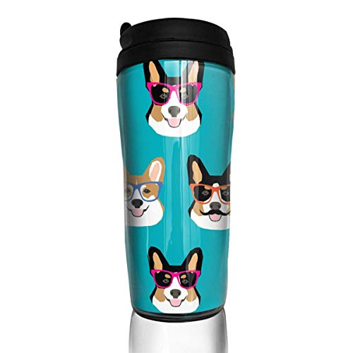 Funny Corgi Glasses And Mustaches Fashion Insulated Traveler Coffee Mug Tumbler Stainless Steel Coffee Cup 12 - Coffee Mustaches Mugs