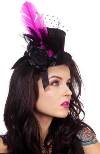 [ToBeInStyle Women's Decorated Clip On Petite Top Hat w/ Feather & Polka Dot Mesh - One Size -] (Pink Top Hats)