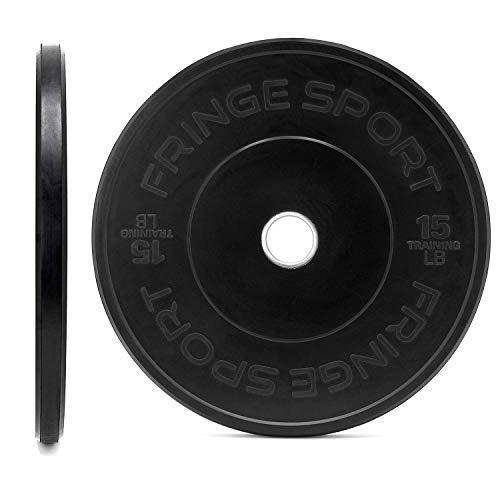 OneFitWonder Black Bumper Plate Pair Weightlifting & Strength Training Equipment (15)