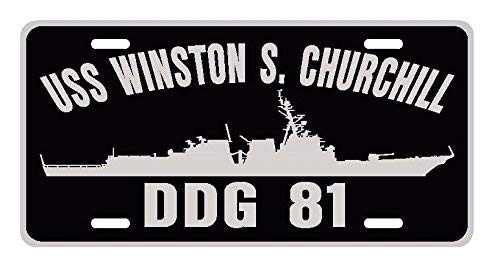 USS Winston S Churchill DDG 81 Personalized Auto Car Truck Front Tag Military Aluminum Metal License Plate Frame Cover 12 x 6 Inch