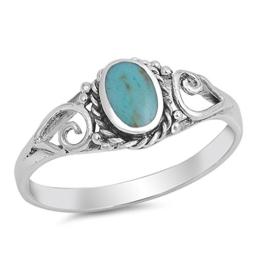 Oval Simulated Turquoise Bezel Rope Swirl Sides Ring 925 Sterling Silver Size 7