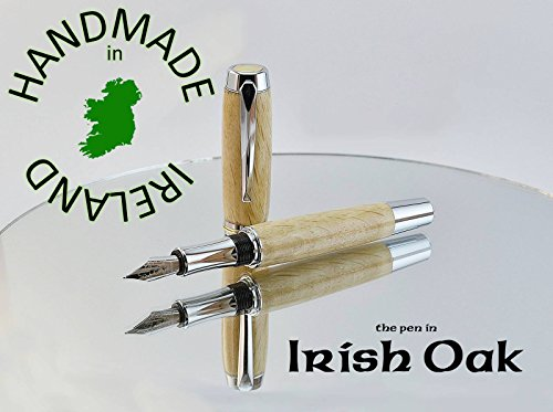 Fountain pen with FREE Desk stand all handmade in Ireland with Oak from Dublin's Phoenix Park Dublin, a special gift from Ireland for the writing connoisseur, add a FREE personal note to the pen case by Irish Pens