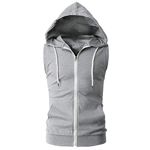 iHPH7 Vest Men Workout Hooded Tank Tops Bodybuilding Muscle Cut Off T Shirt Sleeveless Gym Hoodies Fashion Casual Pure Color Zip Hooded Sleeveless Vest Top Blouse M Gray ()