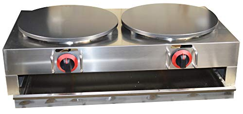 Intbuying LP Gas Crepe Machine Griddle, Commercial Plate Crepe Machine Snack Machine Hot Plate (Double plates)#134042