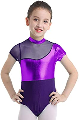 Kid Girls Dance Leotards Ballet Gymnastics Mock Neck Bodysuit Unitards Dancewear