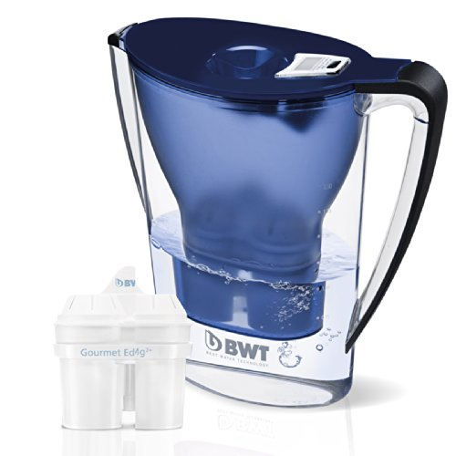 BWT Mineral Hose Pitcher with 2 Long Life Mg2+ Cartridges, 2.7-Liter, Dark Blue