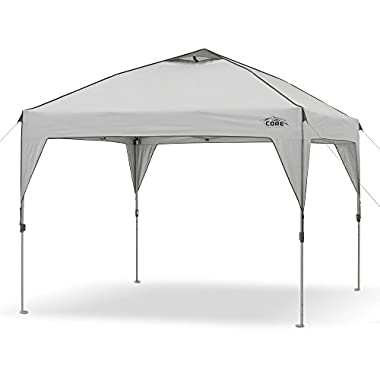CORE 10' x 10' Instant Shelter Pop-Up Canopy with Wheeled Carry Bag, Gray