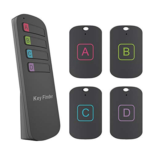 Key Finder, GINDOLY Anti-Lost Item Locator Wireless Key Tracker with Remote Control, 1 Transmitter and 4 Receivers Loud Beep Key Chain Tracker for Wallet Pet Keys