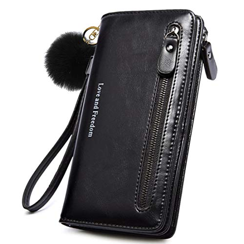 (Wallet-NEWANIMA Women Multi-card Two Fold Long Zipper Clutch Purse (Style7-Black))