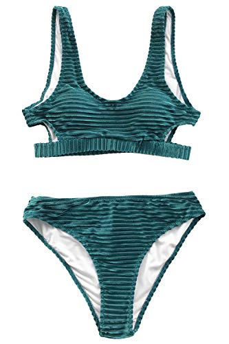 (CUPSHE Women's Emerald Velvet Solid Backless Bikini with Cutout X-Large )