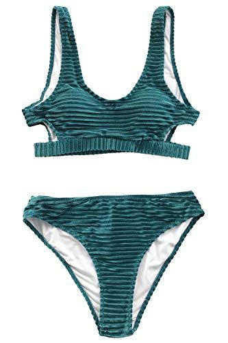 CUPSHE Women's Emerald Velvet Solid Backless Bikini with Cutout Medium