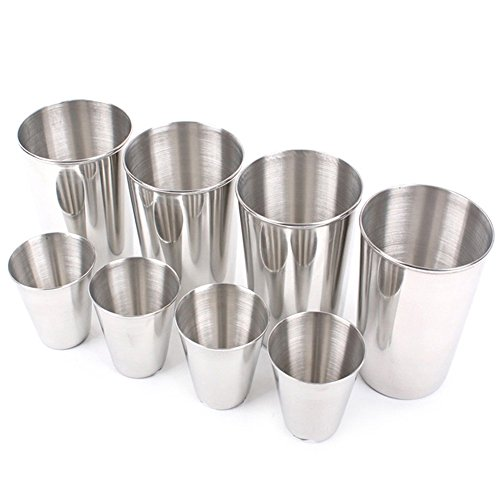 8pcs/set Stainless Steel Cups 14oz Perfect for Outdoor Picnics Travel Camping, Vinmax Premium Grade Stainless Steel Pint Cups Portable Tableware Drinkware Tea Coffee Wine Beer Cups Durable, Eco-Frien