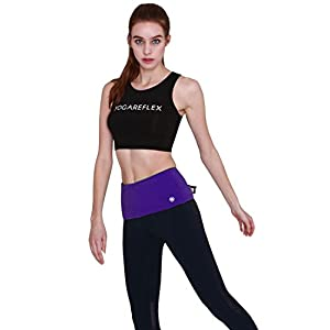 Yogareflex Running Belt Waist Pack Outdoor Sport Workout Zipper Fanny Pack Belt , Purple , Medium