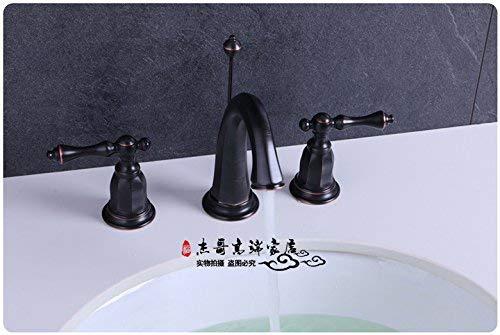 JingJingnet 洗面器用蛇口タップバスルームのシンク蛇口すべて銅カイの8インチ3穴洗面器用ミキサーコンソール洗面器ORBブラッシュホットとコールド蛇口アンティーク北欧スタイル、シルバー (Color : 1) B07RYJRNQ5 1