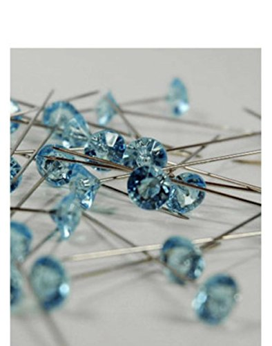 100 CLEAR CRYSTAL RHINESTONE WEDDING BOUQUET CAKE PINS JEWELS PICKS GEMS BLING (light blue)