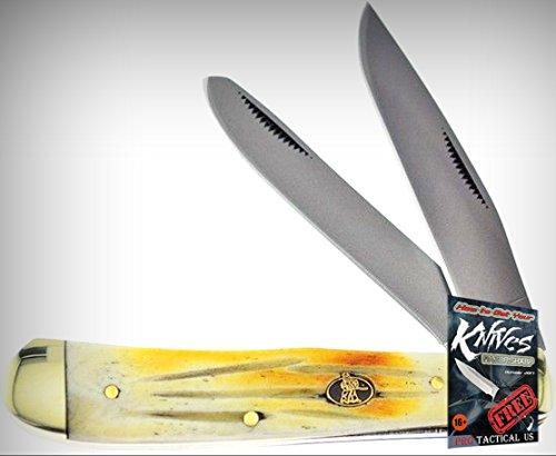 Frost Cutlery FSW108SC Steel Warrior Trapper Folding Limited Elite Knife Bone Handle Folder + free eBook by ProTactical'US