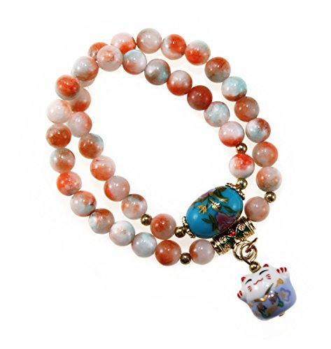 Women Two Row Korean Style Bracelet Natural Stone Bead with Fortune & Lucky Cat Pendant (Orange)