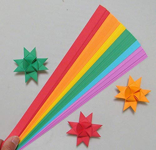 Paper Strips for Weaving Projects. Paper Strips for Moravian Stars, German Stars and Frobel Stars. Rainbow Colors. 100 strips per pack. 1/2 inch x 19 inch in Size
