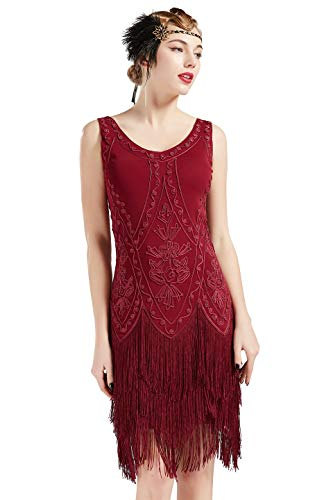 BABEYOND 1920s Flapper Dress Roaring 20s Great Gatsby Costume Dress Fringed Embellished Dress (WineRed, XL)]()