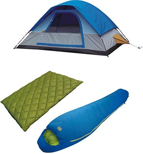 High Peak USA Alpinizmo Florida Sleeping Bags & 5 Magadi Combo Tent, Green/Blue, One Size