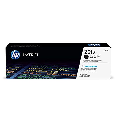 HP 201X (CF400X) Toner Cartridge, Black High Yield for HP Color Laserjet Pro M252dw M277 MFP M277c6 M277dw MFP 277dw (Output Containers)