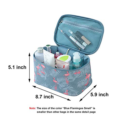 HOYOFO Flamingo Makeup Bag Travel Cosmetic Bags With Mesh Pocket Waterproof Portable Big Toiletry Storage Bags for Women, Blue Flamingos Small