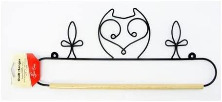White Metal Owl Quilt Hanger with Wooden Dowel Rod 20in Sew Easy ERQH34.20WHT