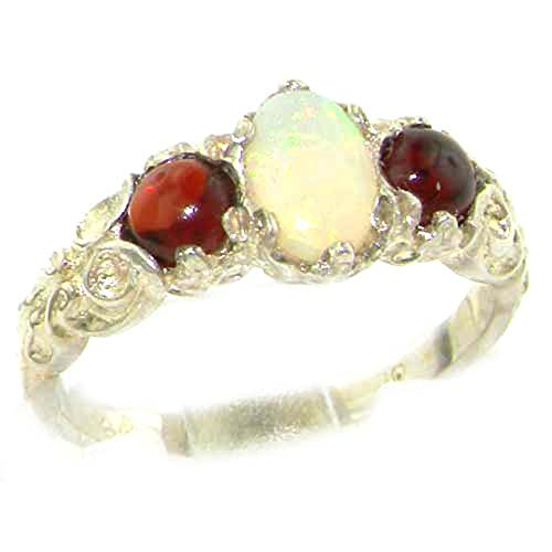 925 Sterling Silver Natural Opal and Garnet Womens Trilogy Ring - Size 7.75