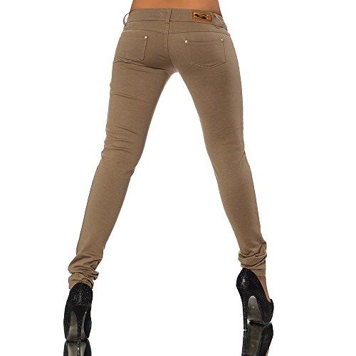 G701 leggings jean look pour hauteur pantalon treggings leggings Caf femme skinny Marron tube wXAXrn1qWB