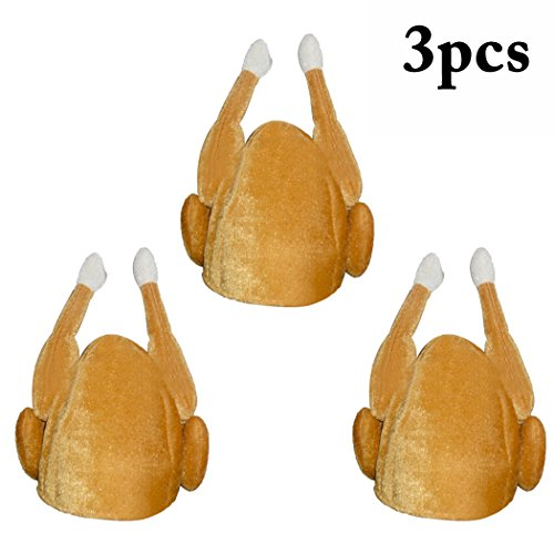 Coxeer Thanksgiving Turkey Hat, Plush Hat Novelty Christmas Turkey Hat for Adults Women Men Thanksgiving Gift Funny Party Hat (3 PCS) ()