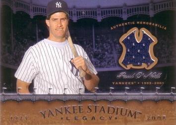 2008 Upper Deck Yankee Stadium Legacy #YSM-ON Paul O'Neill Game Worn Jersey Card