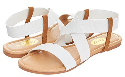 Floopi Womens Summer Flat Sandals Open Toe Elastic Ankle Strap Gladiator Sandal (8, White-501) by Floopi (Image #4)