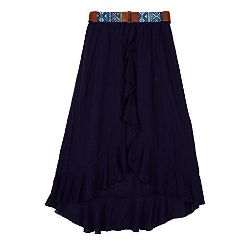 (Amy Byer Girls' Big Ruffle Front Gauze Skirt, sea Navy, S)