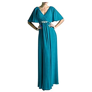 Women's Long Mother of The Bride Dresses Formal Chiffon Evening Gowns Ocean Blue US14