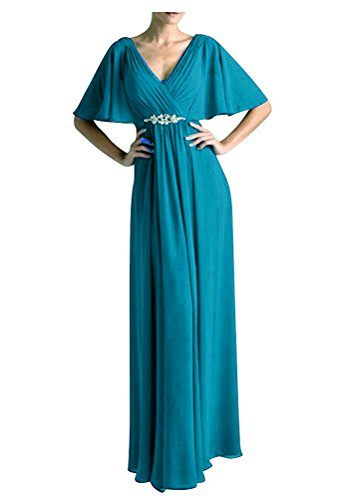Women's A line Chiffon Mother of The Bride Dresses Vintage Evening Formal Gown Ocean Blue US4