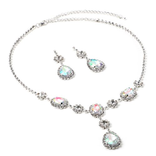 Silver Aurora Borealis Rhinestone Teardrop Shaped Dangle Earrings & Tie Y Shaped Necklace with Small Stones Wrapped Necklace Jewelry Set
