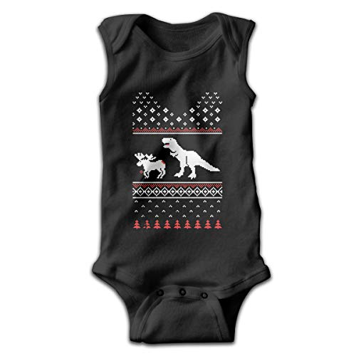 (Newborn Baby Boy's Rompers Sleeveless Cotton Onesie,T-Rex Attack Moose Outfit Winter Pajamas)
