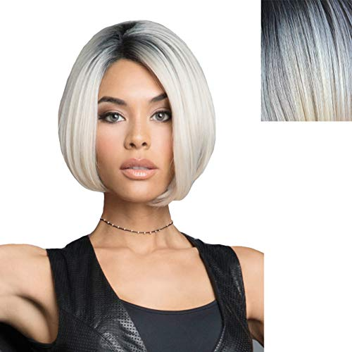 GNIMEGIL Cool Silver Grey Short Bob Wigs for Women Fashion Haircut Straight Synthetic Hair Wigs Pre-Plucked with Natural Hairline Glueless Full Wigs for Daily Costume Party Wear -